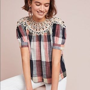 Anthropologie Plaid Swing Top
